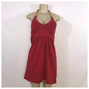 Red Halter Dress With Gold Chain Detail Medium
